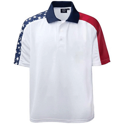 Shoulder Patriotic Polo Shirt USA Flag
