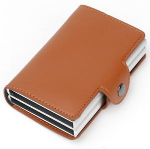 Leather-Credit-Card-Holder-RFID-Blocking-Pop-up-Wallet-Money-Clip-14-card-BROWN