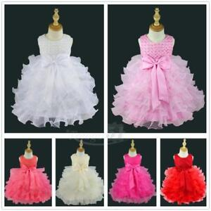 Toddler-Baby-Girl-Princess-Bow-Dress-Wedding-Party-Pageant-Tulle-Dress-Clothing
