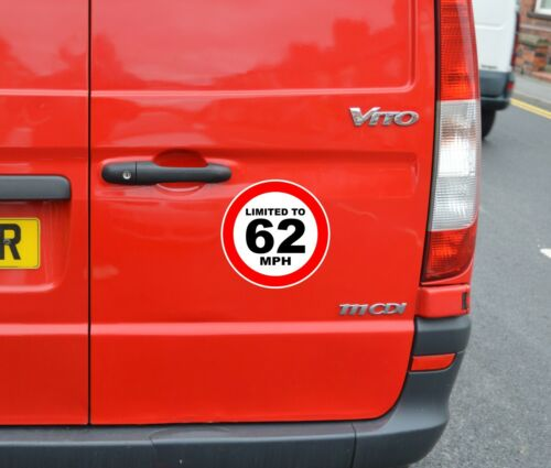 car van lorry bus Limited To 62 MPH sign Self-adhesive printed vinyl sticker