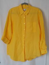 Liz Claiborne Villager Long Shirt Jacket Long Sleeve Rayon Ramie Yellow M #4277