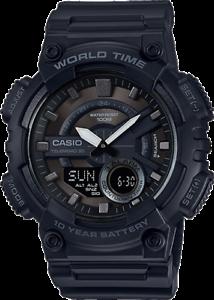 Casio-Men-039-s-Quartz-World-Time-Ana-Digi-Black-Resin-Band-46mm-Watch-AEQ110W-1BV