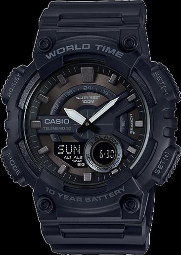 Casio Men's Quartz World Time Ana-Digi Black Resin Band 52mm Watch AEQ110W-1BV