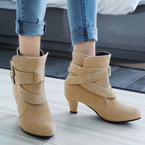 Details about  /Women/'s Chelsea Boots Slip On Buckle Kitten Heel Pointed Toe Causal Bootie Shoes