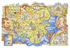 South-Devon-Map-Postcard-Torquay-Exeter-Plymouth-Dartmoor-Dawlish-BY5