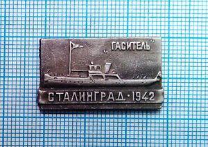 Fire-Ship-034-Extinguisher-034-Stalingrad-Propaganda-Vintage-Soviet-Pin-Badge-USSR