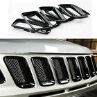 ABS Chrome Front Grille Vent Hole Trims Black for Jeep Compass 2011-2015
