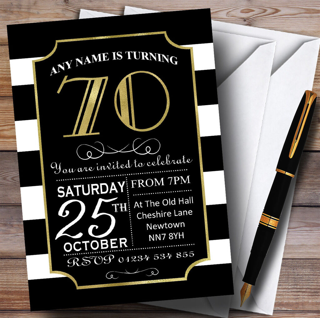 Noir & invitations blanc rayée or 70th personnalisé fête d'anniversaire invitations & 60b27f