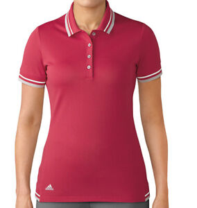 Adidas-Ladies-Pique-Golf-Polo-Short-Sleeve-Shirt-Energy-Pink-Womens-Size-Small
