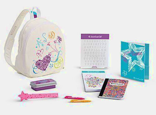 NEW American Girl Doodle Backpack Set For 18quot Dolls School Ruler Notebook  NIB
