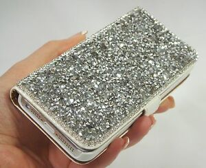 Image is loading Silver-Bling-Made-with-Swarovski-Crystals-Wallet-Case- ba608c4139ce