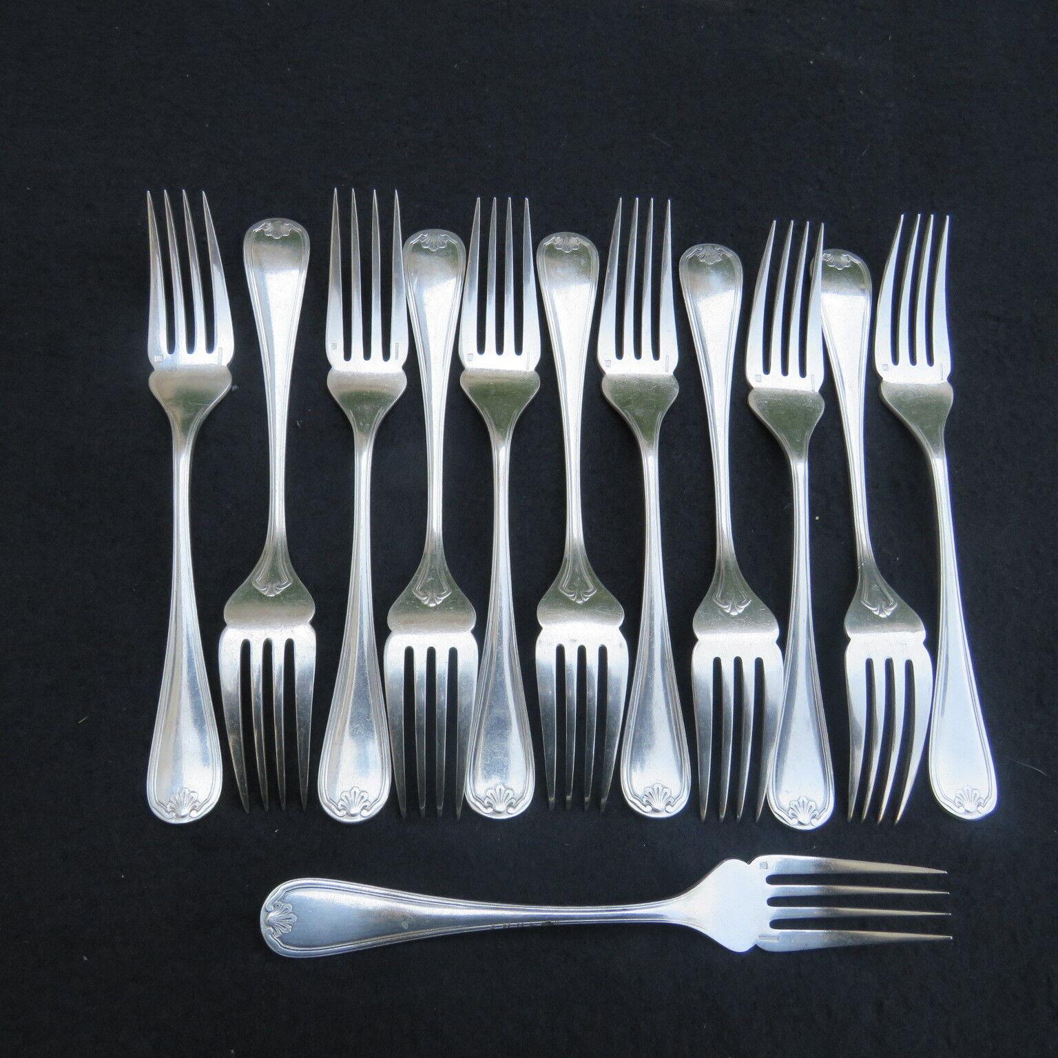 CHRISTOFLE 12 fourchettes  à poisson en métal  argenté modèle coquille bérain 1