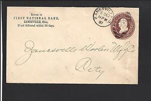 ZANESVILLE-OHIO-COVER-1887-FIRST-NATIONAL-BANK-ADVT-OVAL-DUPLEX-CANCEL