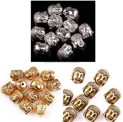 20PCS 10x8mm Tibetan Silver Buddha Head Charms DIY Beads for Jewelry Making