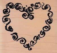 Stylized Heart Art Impressionswood Mounted Rubber Stamp 3 X 3 Free Shipping