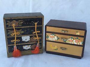 (2) Vtg Oriental Wood 3 & 4 Drawer Dresser Ring Jewelry Box Case Storage Asian