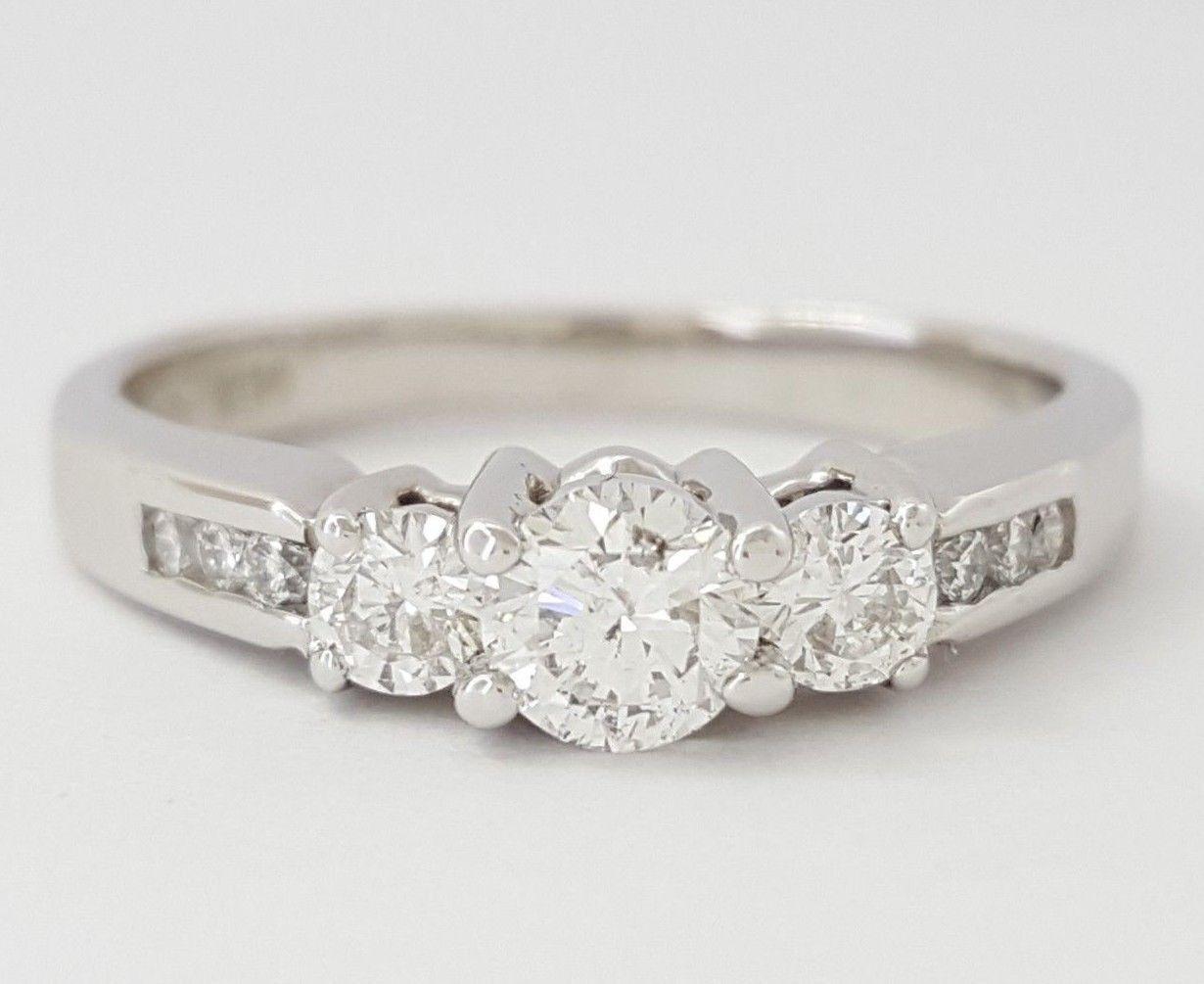 0.52 ct 14K Three-Stone Round Brilliant Cut Diamond Engagement Anniversary Ring