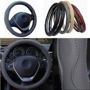 Car-Steering-Wheel-Cover-Dynamic-Fiber-Leather-Embossed-Four-Seasons-Gray-38cm