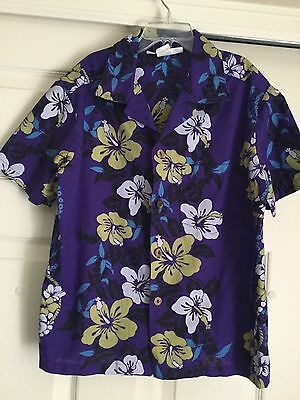 Vintage Hawaiian Boy's Shirt by Made in Hawaii Purple Stamped Floral Sz 14 Cotto