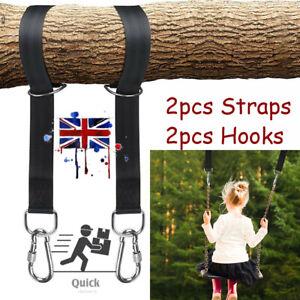 Tree Hanging Strap Hammock Garden Swing Strap Rope Kit Carabiner Hook Fitting UK