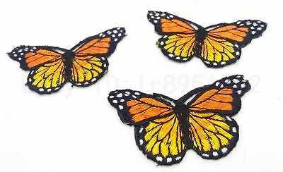 3 pcs DIY Embroidered Cloth Iron On Patch Sew Motif Applique butterfly Orange