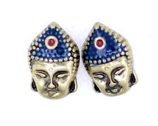 Vintage Retro style bronze Buddha head stud earrings