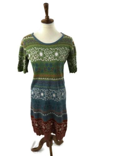 Gudrun Sjoden Knit Folk Art Dress Size M Cotton