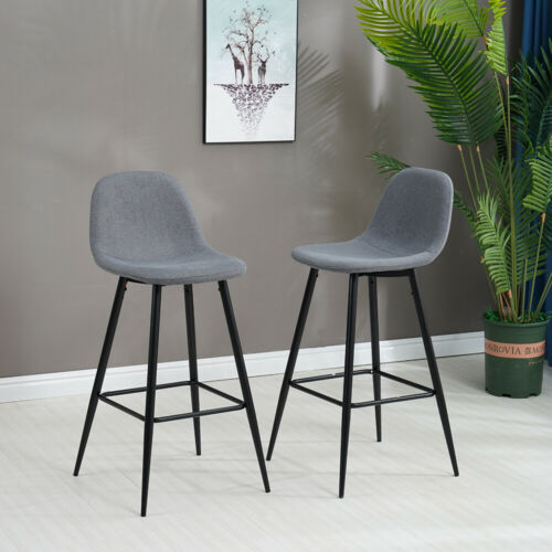 Set of 2 Bar Stools Fabric Bar Chairs High Stools Breakfast Kitchen Chairs Metal