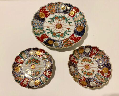 Japanese Imari Arita Ware Hand Painted Porcelain Plates /& Bowls Set of 3