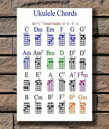 New Ukulele Chord Chart Rock Guitar Music T-716 Silk Fabric Poster