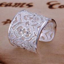 Women/'s Cutout Love Silver Plated Rhinestone Wide Band Open Ring Jewelry New DI