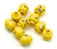 Lego 10 New Yellow Minifig Heads Dual Sided Exo-Force Green Eyes Frown and Scar