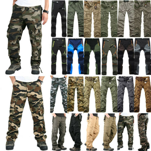 Mens Cargo Combat Army Military Camo Trouser Tactical Workwear Long Pants Casual