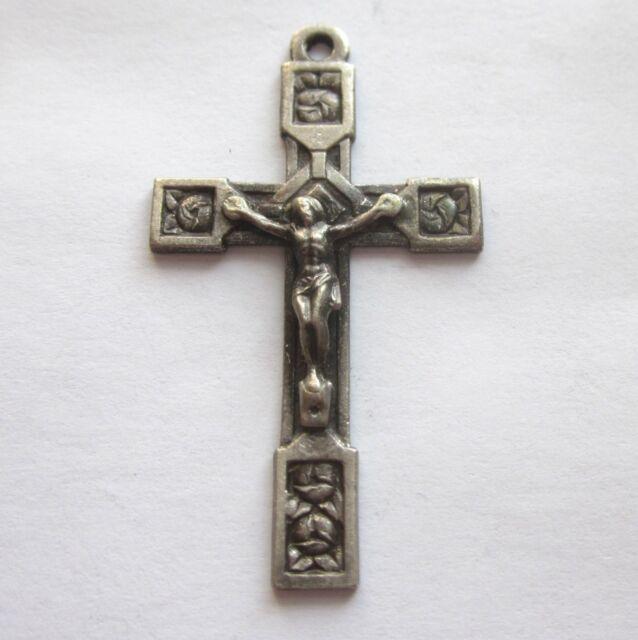 Vtg Crucifix w/ Roses Catholic Cross Religious Jewelry Lourdes Pendant