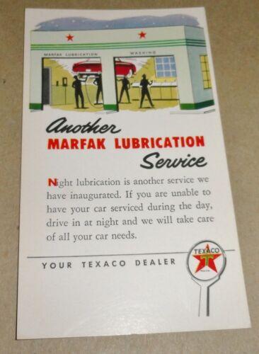 1950/'s Texaco Oil Postcard Marfax Lubrication Service