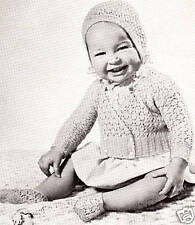 Vintage Knitting PATTERN to make Baby Cardigan Sweater Bonnet Booties YellowSwea