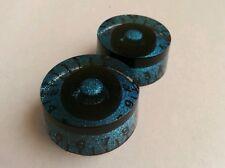 1 chicken head volume / tone knobs. Black/Blue flake.. JAT CUSTOM GUITAR PARTS