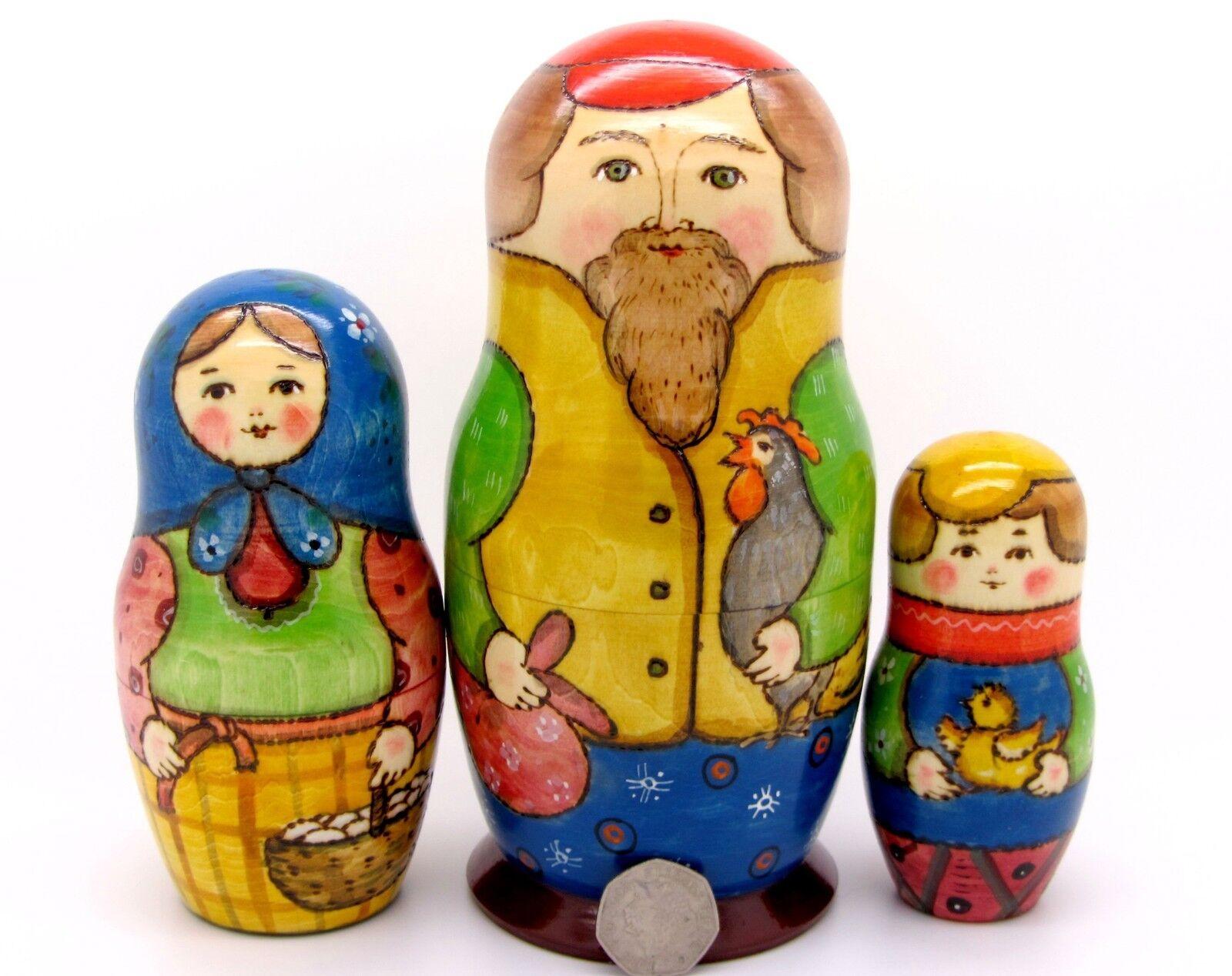 Ruso Anidamiento Muñeca Matryoshka Grande 3 Pintado a Mano Papá Mamá hijo & pollo Ryabova