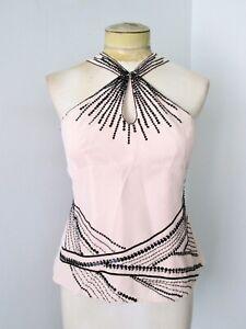 Nanette-Lepore-pink-black-sequin-silk-tank-top-blouse-Art-Deco-flapper-style-4