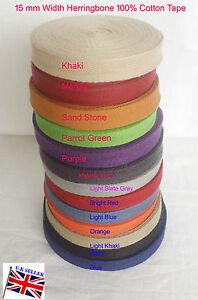 15mm-Webbing-Cotton-Herringbone-Tape-Fabric-Dress-Making-sewing-Bunting-strap
