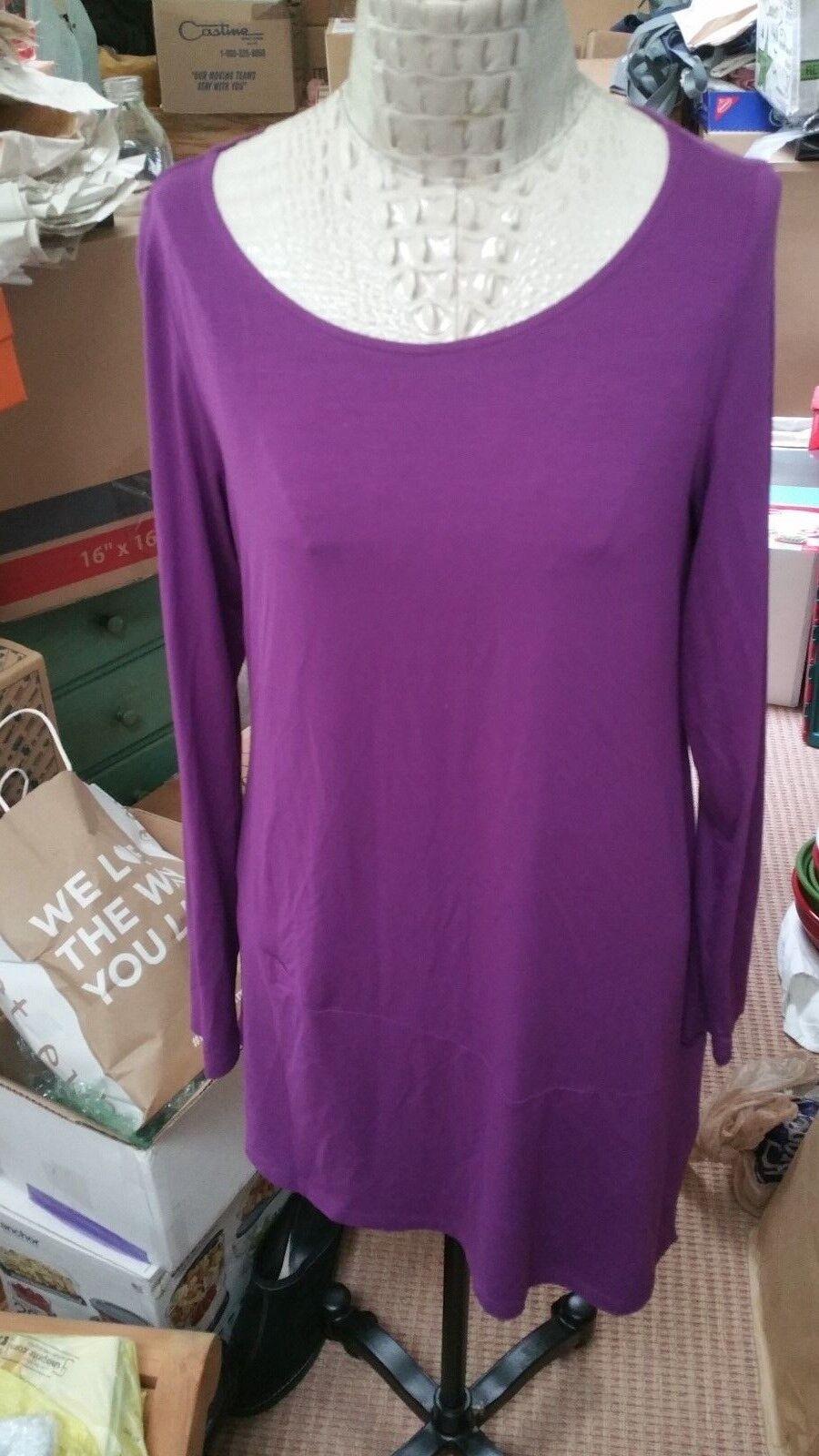 NWT Eileen Fisher viscose jersey assymetrical tunic in ultralila sz M