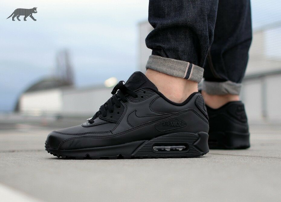 innovative design a8ee5 f8511 free shipping New Triple Black Nike Air Max 90 Essential Premium Leather  Running Training Shoe