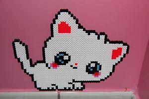 Détails Sur Pixel Art Perles A Repasser Chaton Blanc