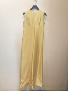 VINTAGE 1965 robe longue de soirée couture en soie sauvage jaune