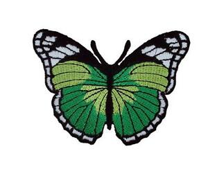 Green Butterfly Embroidered Embroidery Iron / Sew On Patch Badge Motif