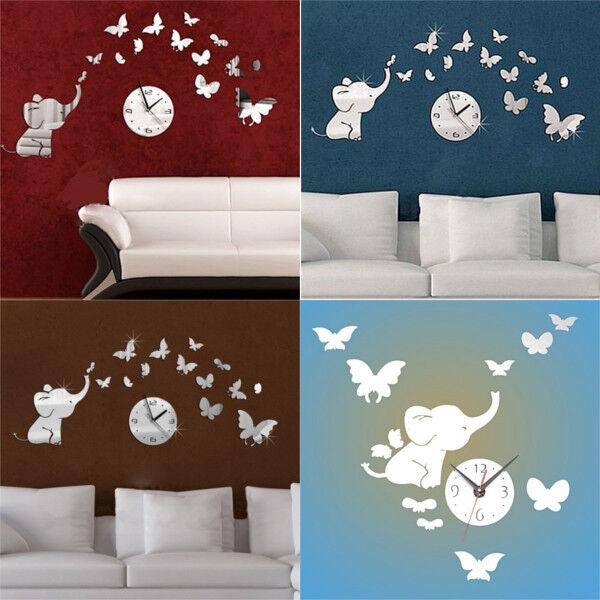 Hot Elephants Play Butterfly Sticker DIY Mirror Wall Clock Wall Sticker Home