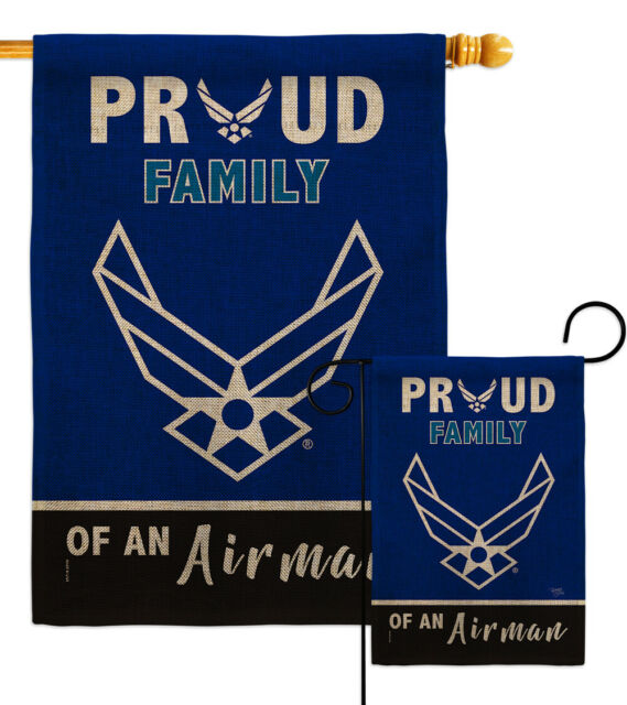 Proud Dad Airman Burlap Garden Flag Air Force Armed Forces Yard House Banner