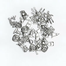 20 Antique Silver Halloween Charms Pendants Mixed