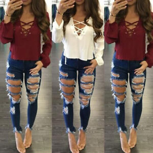 Womens-Ripped-Destroyed-Hole-Jeans-Denim-Pants-Skinny-High-Waist-Frayed-Trousers