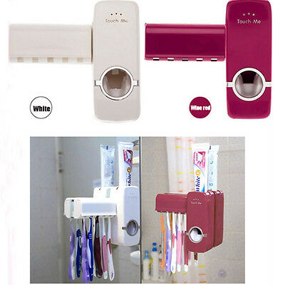 Topsale Home Brush Holder Hole Set Auto Toothpaste Dispenser Squeezer Wall Mount